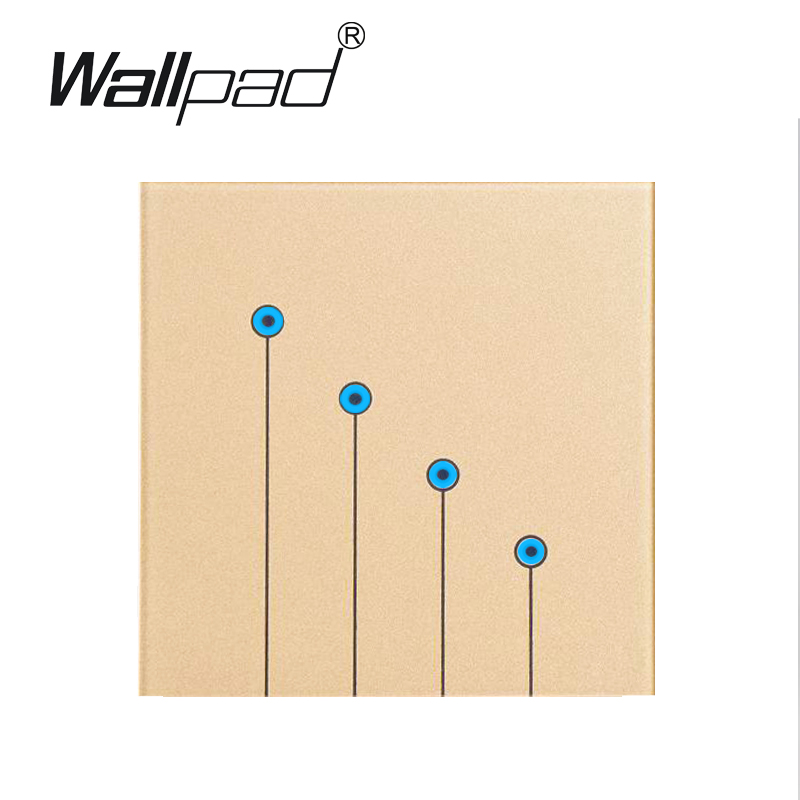 Free Shipping, Gold Tempred Glass Switch Panel 4 Gangs 1 Way Wallpad UK Standard Touch Switch, Wall Light Touch Screen Switch цена