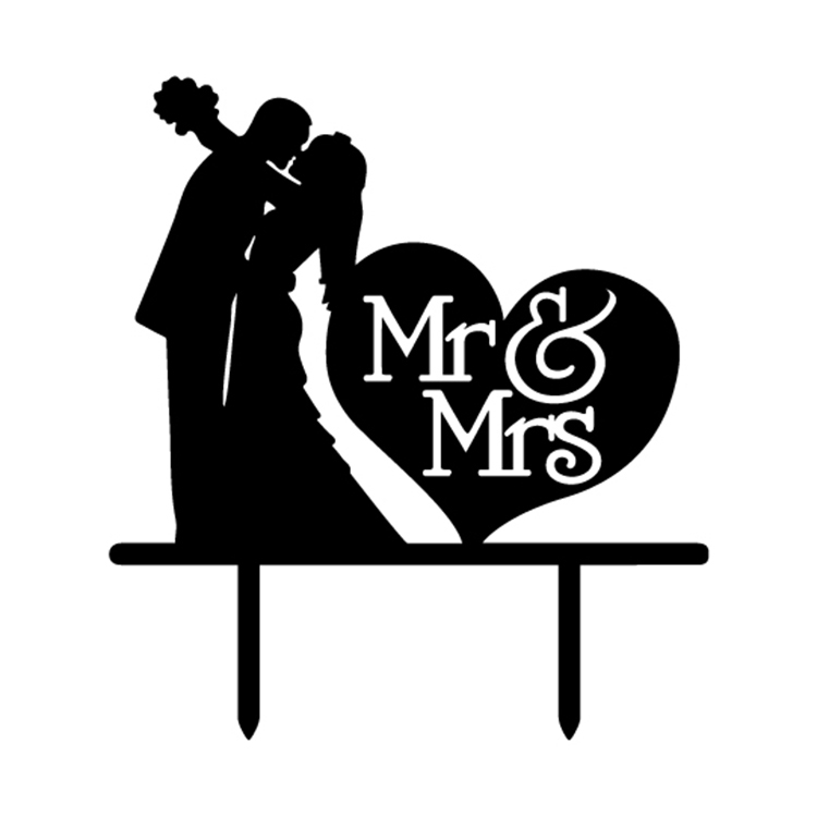 Love Heart Mr Mrs Acrylic Bride Groom Cake Flag Toppers Gold
