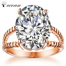 Tocean, розовое золото, красивые свадебные кольца для женщин, круглая огранка, AAA циркон, милые, для помолвки, модные, Bijoux Bague, размеры 5-12, W019