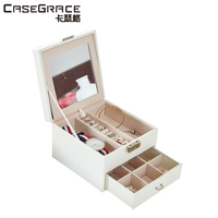 Casegrace Waterproof Environmental Women Jewelry Storage Wooden Box 2 Layers Multi Grids Portable Makeup Bins Organizer
