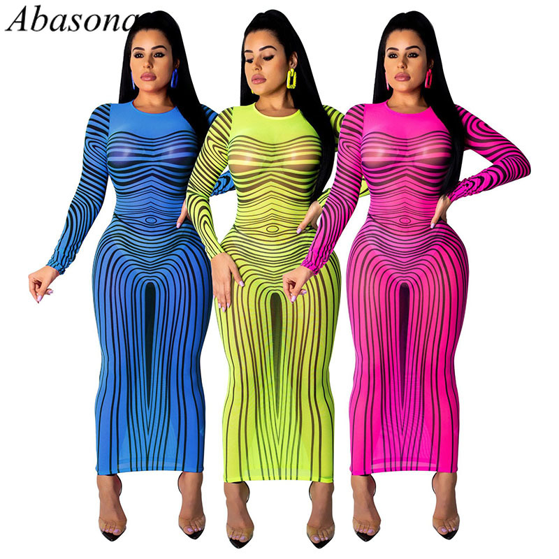 Abasona 2019 Women Summer Sheer Mesh Stripes Print <font><b>Transparent</b></font> Bodycon Midi <font><b>Dress</b></font> Long Sleeve <font><b>Sexy</b></font> <font><b>Night</b></font> <font><b>Club</b></font> Party Maxi <font><b>Dresses</b></font> image