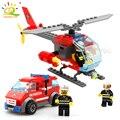 83 шт. пожарный вертолет автомобиль пожарный DIY строительные блоки Совместимые legoed город развивающие Кирпичи игрушки для детей - фото