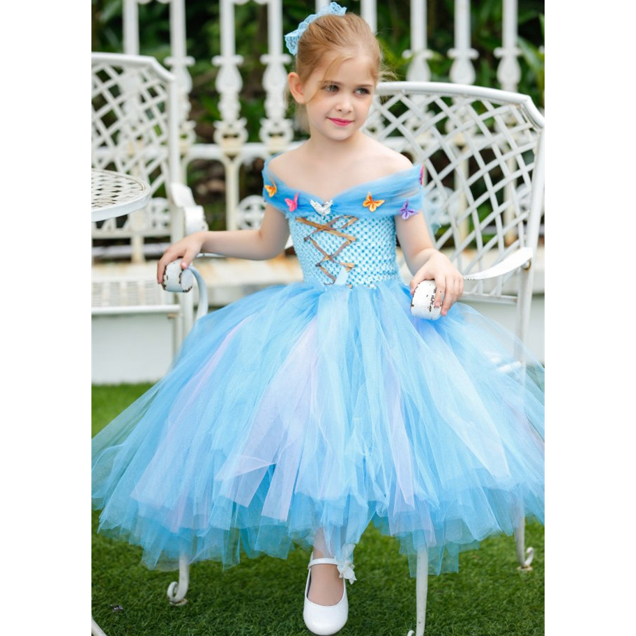 Princess Cinderella Baby Kid Tutu Dress for Girl Layered Butterfly Gauze Wedding Birthday Party Clothes Junior Flower Girl Dress retail handmade custom 2015 new girl tutu dress flower belt 2 layer gauze girl performing dress 2 8y 13053