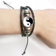 Yin Yang Tai Chi Symbol Leather Bracelet Glass Cabochon Yin Yang Jewelry Weave M