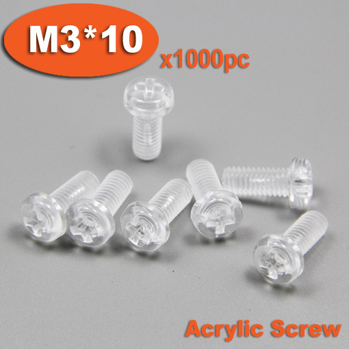 <font><b>1000pcs</b></font> DIN7985 <font><b>M3</b></font> x 10 Plastic Acrylic Pan Head Phillips Screw Cross Recessed Raised Cheese Head Screws image