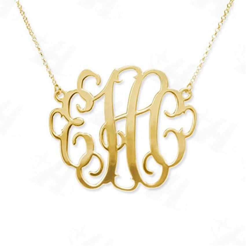 Colar feito sob encomenda do monograma da forma da letra inicial da indicação negrito do colar do pendente, colar da cor do ouro para a mulher, colares femininos