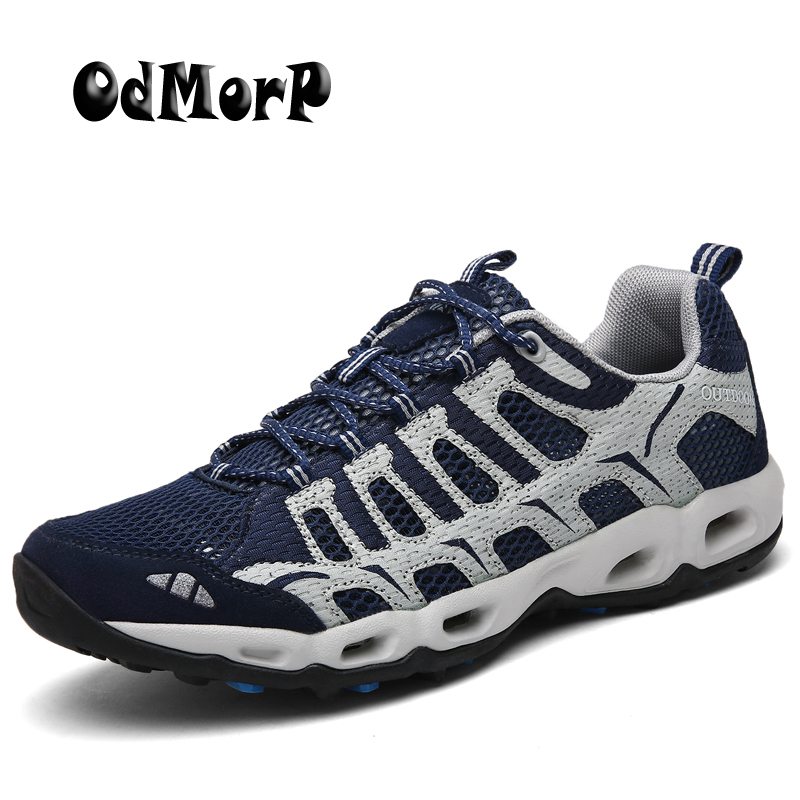ODMORP Men Shoes Large Size 39-46 New Fashion Mens Sneakers Summer Breathable Mesh Lace Up Casual Shoes Man Outside Footwear