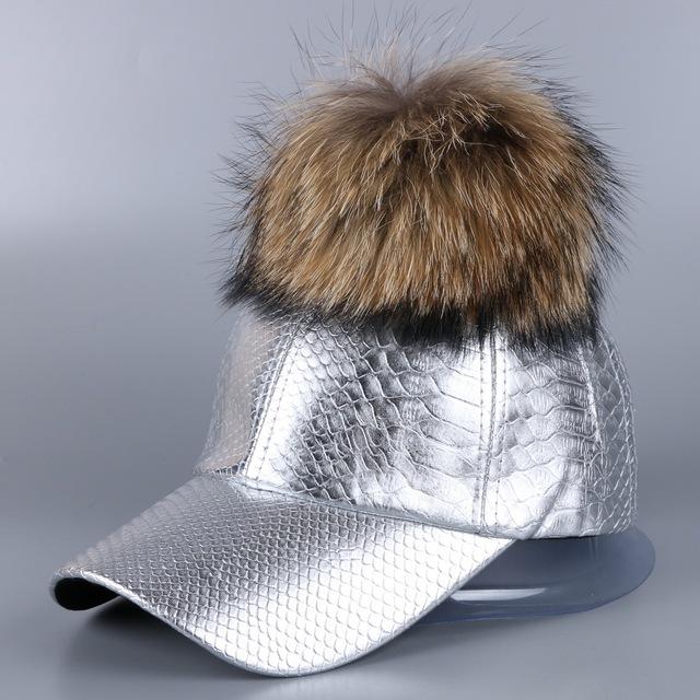 Pompom chapéu do inverno das mulheres de luxo da marca basell cap Melhor qualidade Pu bola de vison pele de raposa de couro real moda chapéus menina casquette gorra
