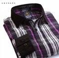 U & SHARK Homens Roxo Camisa Xadrez Manga Comprida Regular Broadcloth Vestido de Algodão Camisas Casual Camisa Masculina 2017 Dos Homens do Sexo Masculino camisas
