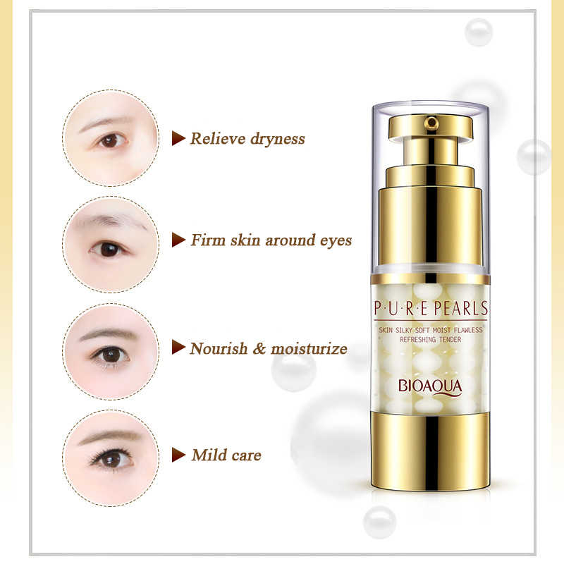 BIOAQUA pura perlas crema de ojos Anti-envejecimiento ojo anti hinchazón cuidado crema de esencia para eliminar el círculo oscuro crema reafirmante blanqueamiento