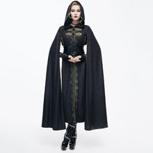 2017 Devil Fashion Noble Palace Wind Retro Steampunk Cape Coats Gothic Black Casual Hooded Long Sleeves Embroidery Cloak Trench