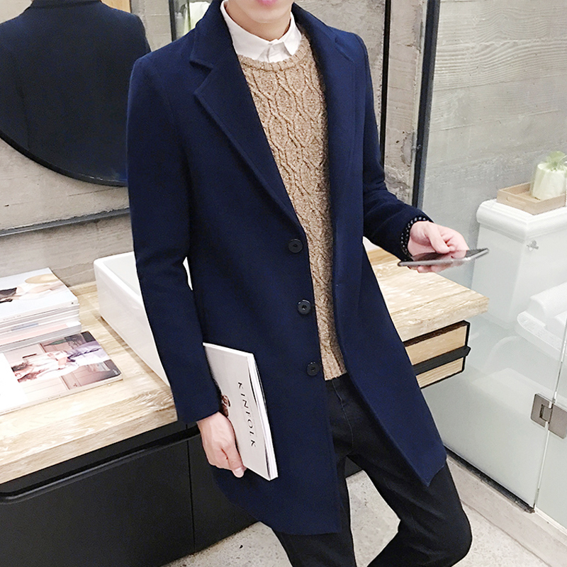 2019 Winter New , Stylish Men's High Version Scheduled Long Trench Jacket, High Quality Men's Casual Slim Windbreaker Wool Coat