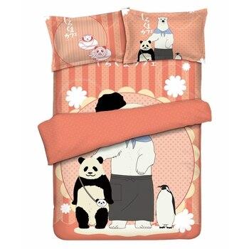 Anime JK Cartoon Shirokuma Cafe Panda Polar Bear Penguin Red Comforter Set Bed Flat Sheet Quilt Cover Pillowcase Bedding Sets