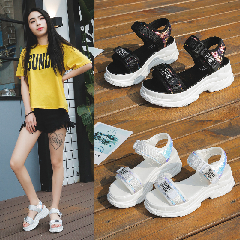 HTB1iUYzdW1s3KVjSZFAq6x ZXXay - Fujin Summer Women Sandals Buckle Design Black White Platform Sandals Comfortable Women Thick Sole Beach Shoes