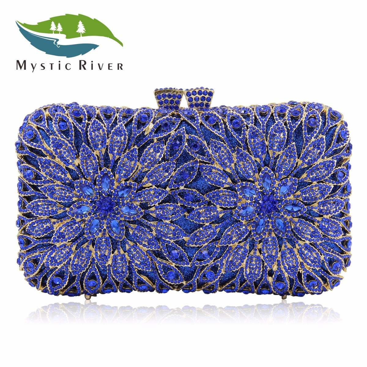 Mystic River Women Clutch Bags Full Crystal Evening Bag Blue Party Purse Ladies Wedding HandBag With Long Chain  mystic river designer pearl bags circle shape beaded clutches women wedding bag with chain lady evening clutch purse
