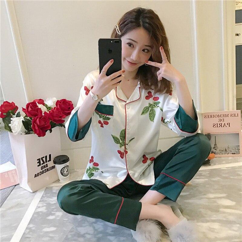 Women Nightshirt   Sets   WAVMIT Women Comfortable Silk   Pajama     Set   Print Pyjama   Set   Long Sleeve Sleepwear Women Top Long Pant