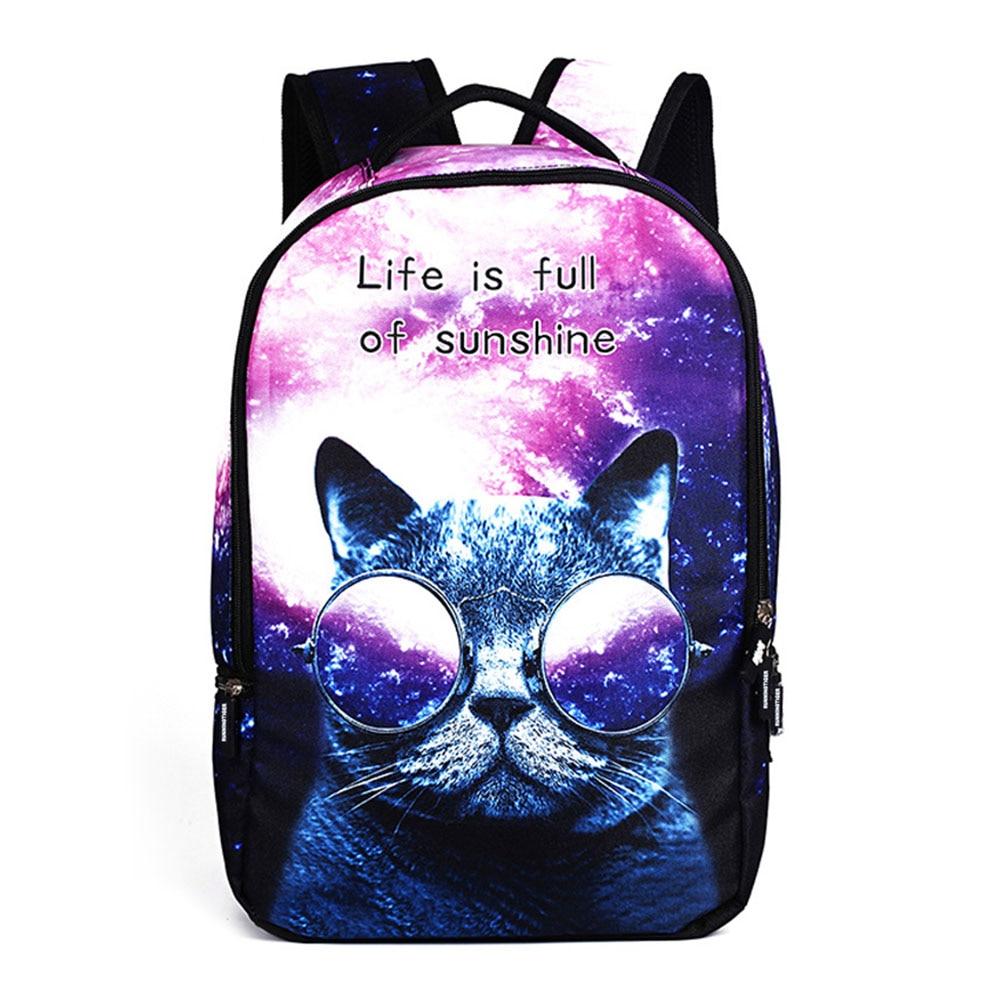 79946a044ee9 Simple Fashion 3D Cartoon Cat Backpack Rucksack Large Capacity Women  Teenager School Shoulder Bag For Girls