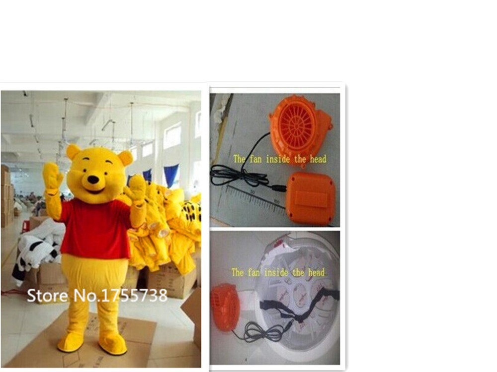 New Adult Size Party Winnie Bear Mascot Costume Cosplay Free Shipping