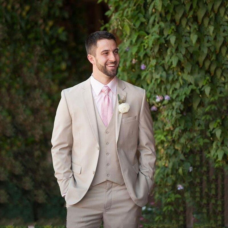 Latest Coat Pants Designs Khaki Men Suits For Wedding Groom Tuxedos Slim Fit Terno Masculino Casual Best Man Blazers 3Piece