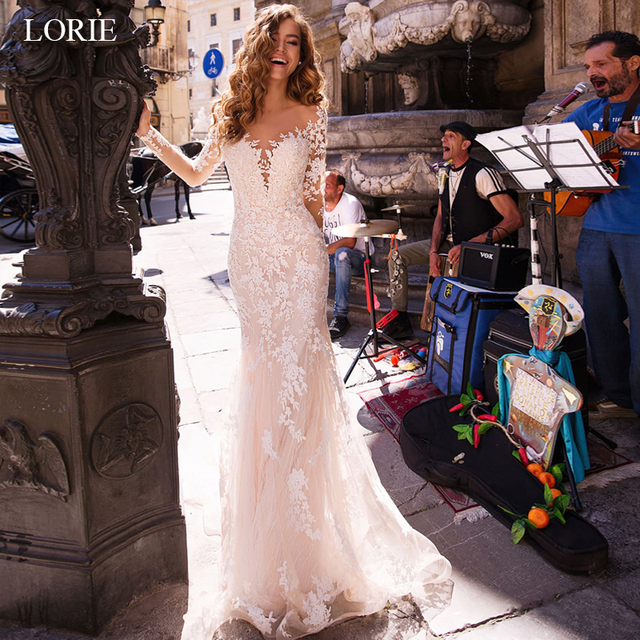 LORIE 2019 Illusion Full  Lace Mermaid Wedding Dresses Long Sleeve Applique Vestidos De Novia White Ivory  Bridal Gowns Custom