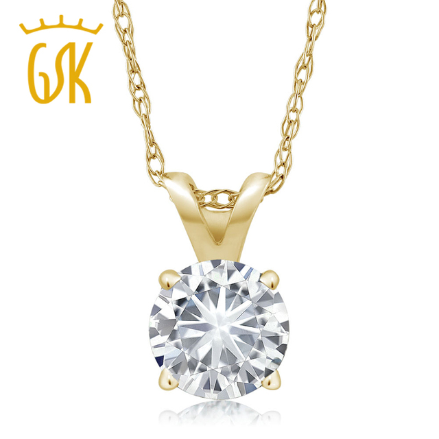 Charles & Colvard 1/3 CT Round Moissanite Solitaire Pendant in 14K Yellow Gold