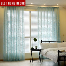 BHD minimalism embroidered tulle curtain for window curtains for living room the bedroom modern tulle curtains fabric drapes