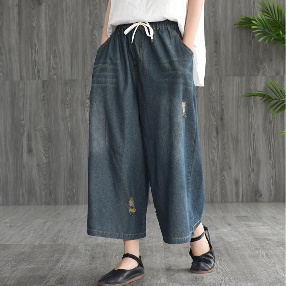 Women Wide Leg   Jeans   Denim Pants Retro Vintage Casual Fashion for Summer Long Big Loose Oversized Distressed AZ31221917