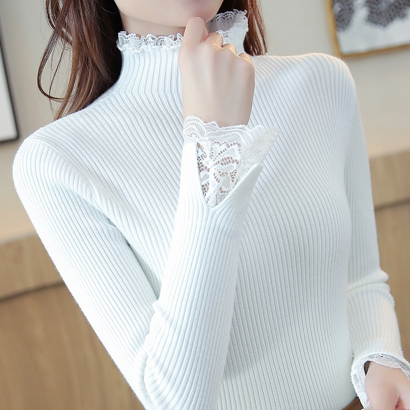 Half-high Collar Sweater Women 2019 Spring New Sweater Slim Bottoming Sweater Short Paragraph Solid Color Lace Thickening Inside