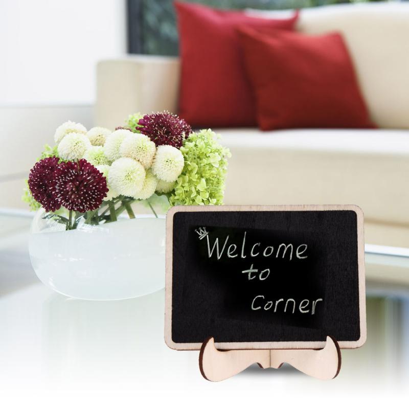 12Pcs DIY Assembled Mini Blackboard Wooden Message Black Writing Board Wedding Party Labels Wood Chalkboard Office School Supply