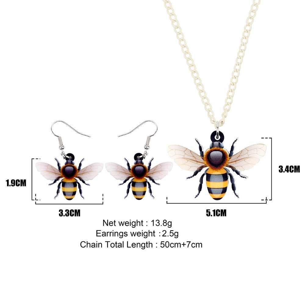 Bonsny Laporan Acrylic Kartun Lebah Madu Serangga Perhiasan Set Kalung Anting-Anting Elegan Hewan Charms untuk Wanita Wanita Remaja Hadiah