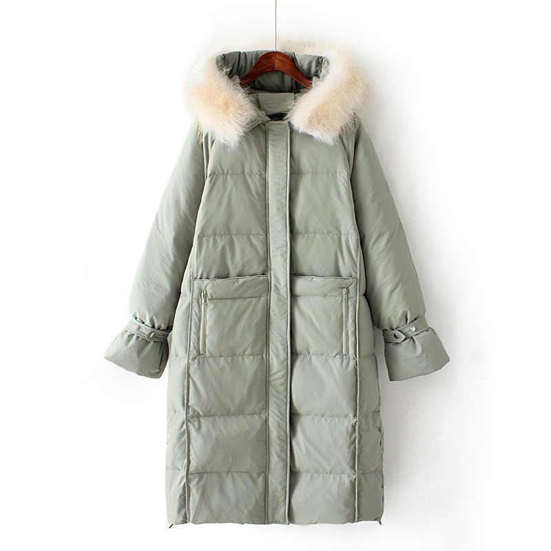 Fitaylor 2019 новое зимнее длинное пуховое пальто женские парки с белым утиным пухом Большие куртки с капюшоном из натурального меха енота