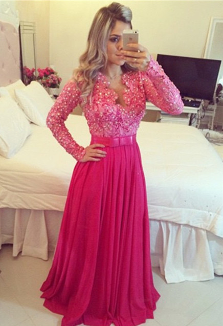 V Neck Modest   Prom     Dresses   2019 With Long Sleeves Lace Chiffon A-line Seniors Fuchsia Formal Evening Party   Dresses   Pearls New