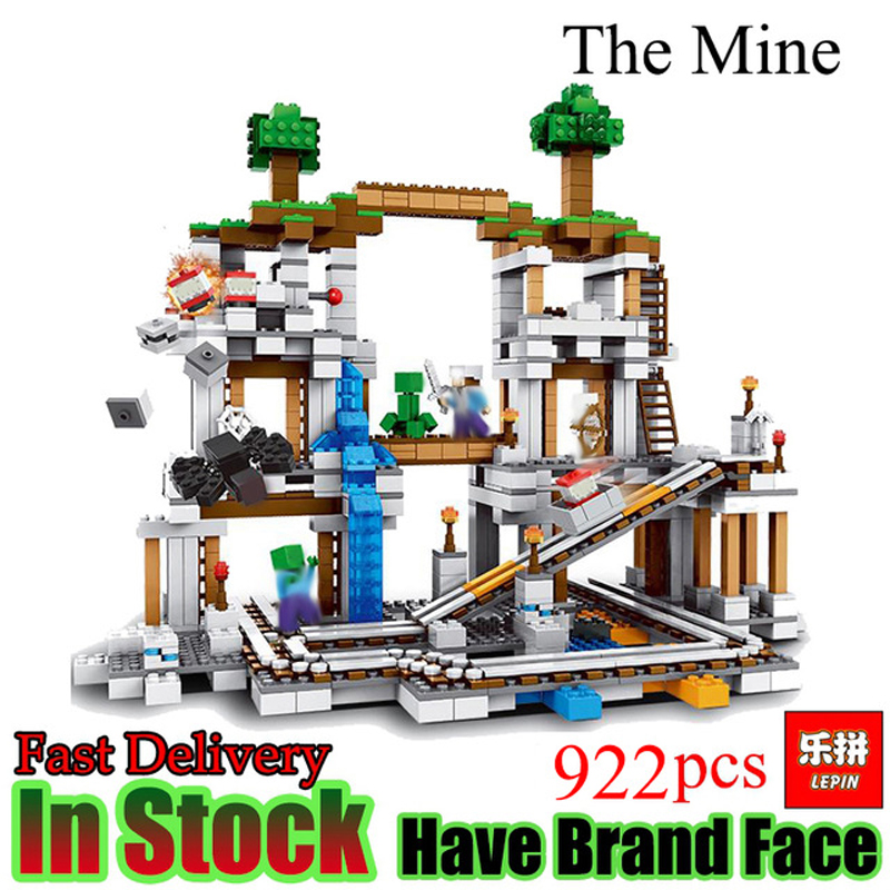 lepin Minecraft 922Pcs The Mine My world Figure Kids Educational Building Blocks Bricks Toys For Children Gift legoing 21118 lepin my world 406pcs classic tree house legoingly minecraft model figures building blocks bricks kids toys for children gift