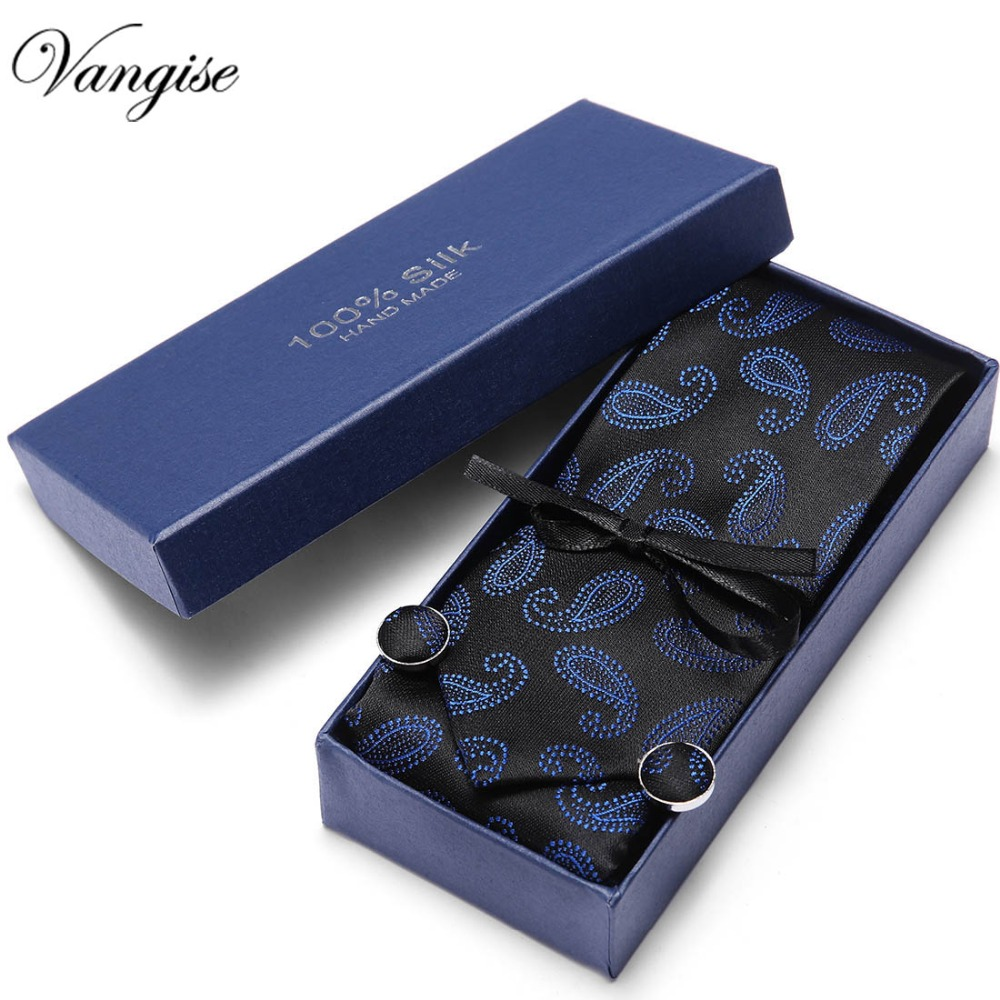 Gift Box 2018 Men`s Tie 100% Silk Jacquard Woven Necktie Hanky Cufflinks Sets For Formal Wedding Business Party