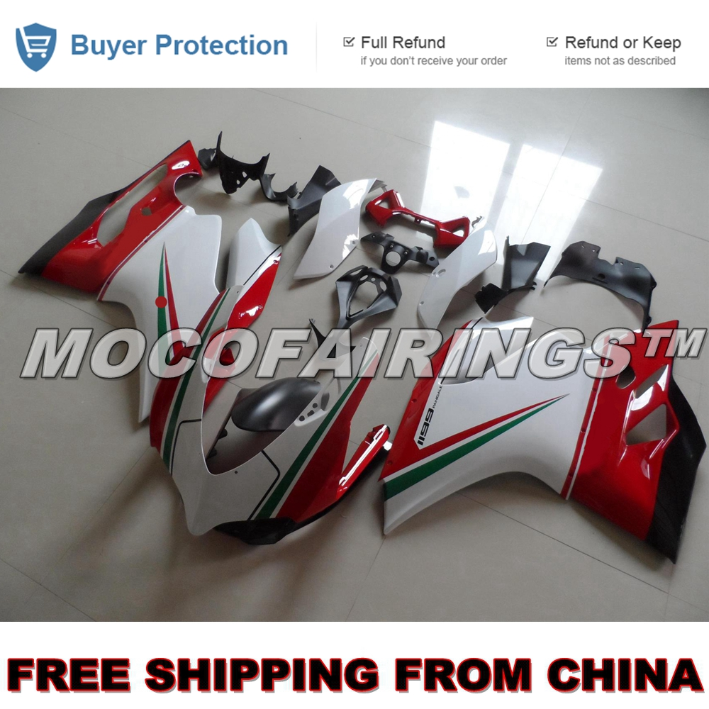 Motorcycle Injection Fairing Kit For Ducati 1199 899 2012 2013 Panigale ABS Fairings Body Work Kits TRI-COLOR unpainted white injection molding bodywork fairing for honda vfr 1200 2012 [ck1051]