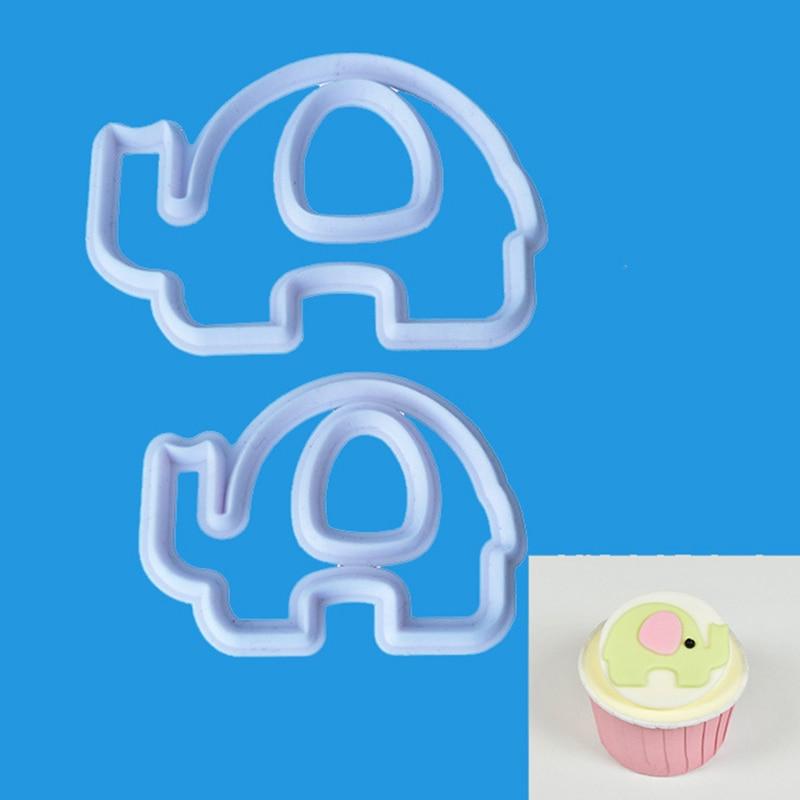 4 Pcs/Set Food Grade Plastic DIY Elephant Cookie Biscuit Cutter Cake Mold Fondant Cutter Mould Baking Cake Decorating Tools