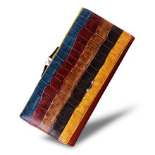 cossroll 2017 Genuine Leather Wallet Purse New Fashion Colorful Striped Female Long Clutch Bag Wallets for Women