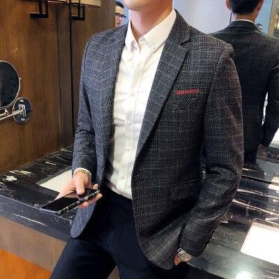 2018 Новый Повседневный костюм мужской тонкий корейский тренд красивый британский стиль костюм куртка одиночное пальто