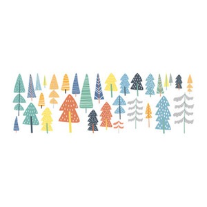 Cute Woodland Pine Tree Wall Decals Nursery Art Decor Forest Vinyl Wall Stickers For Kids Room Baby Bedroom Decorative Sticker