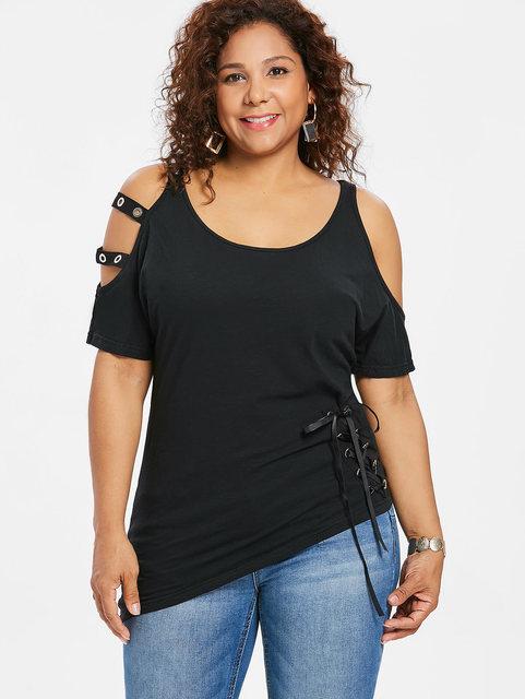 7a9fc1c1b8c3 Wipalo Plus Size 5XL Lace Up Solid Asymmetric T-Shirt Cold Shoulder Open  Shoulder Tee Cutout Scoop Neck Casual Women T-Shirts
