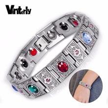 e6c943d1b012 Pulsera de acero inoxidable de cristal grande de cadena de mano para hombre  Vinterly pulseras magnéticas de germanio de energía .