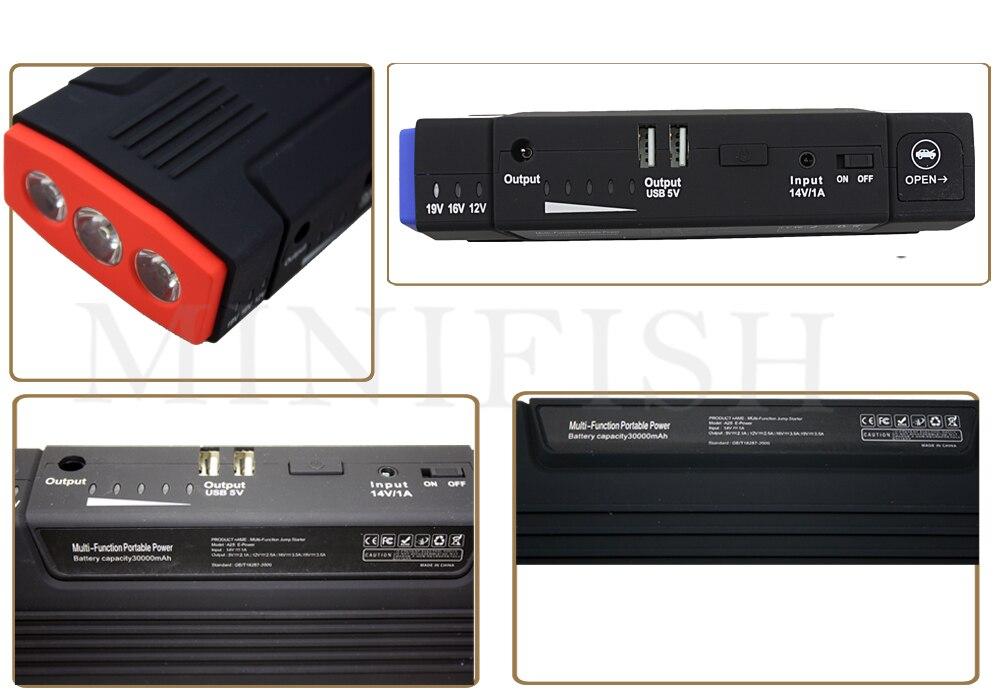 Portable Multifonction 600A AUTO Démarrage D'urgence chargeur de batterie Moteur Booster batterie externe Démarreur Voiture De Saut Pour 12 V bloc-pile - 2