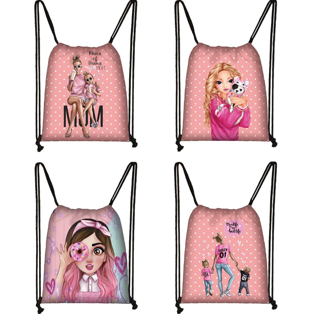 Pretty Girls / Super Mom Pattern Drawstring Bag Fashion Girls Canvas Softback Backpack Women Travel Bag Female Storage Bag