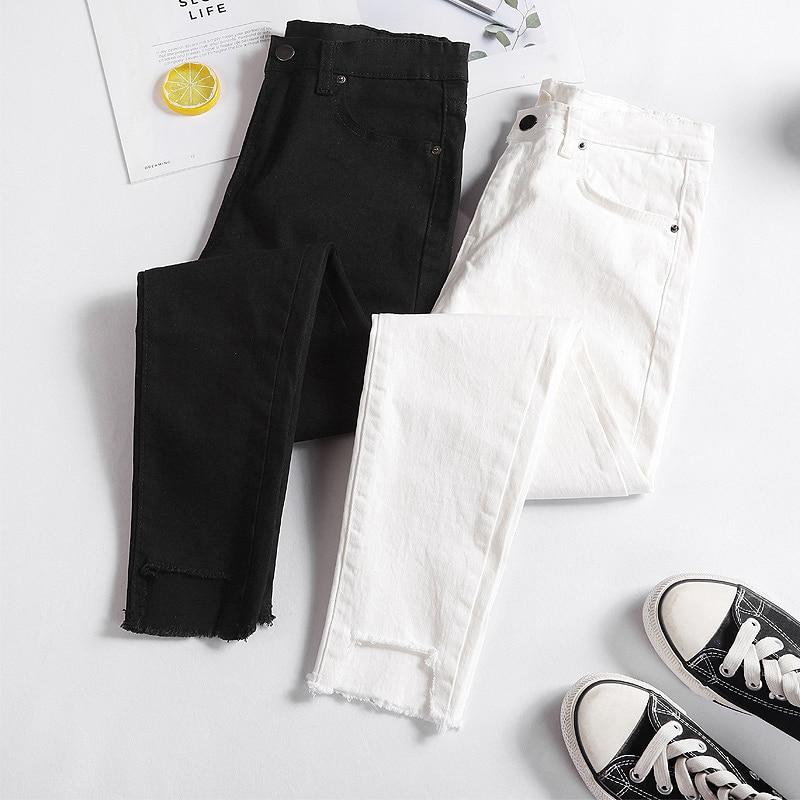 Plus Size Streetwear White Black Jeans Woman 2019 Autumn High Waist Ripped Skinny Jeans For Women Mom Jeans Pants Jeans Femme