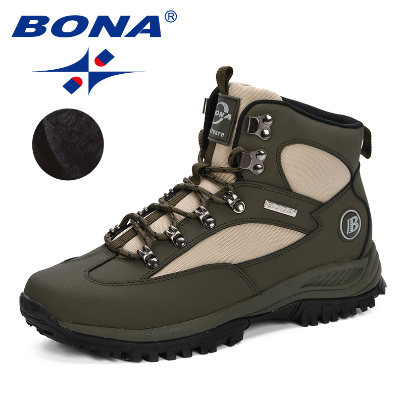 BONA 2019 Winter Real Leather Men Boots Lace Up Warm Snow Boots Men Winter Boots Work