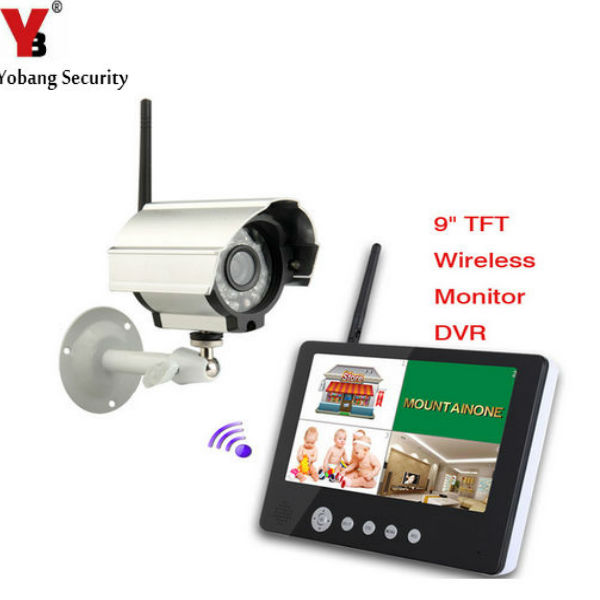 YobangSecurity 9 inch Digital Wireless Camera Audio Video Baby Monitors 4CH Quad DVR Security System With IR night light Camera