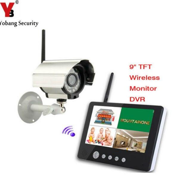 YobangSecurity 9 inch Digital Wireless Camera Audio Video Baby Monitors 4CH Quad DVR Security System With IR night light Camera цена 2017