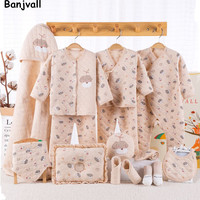 Banjvall 100% Cotton Bewborn Gift Set Baby Girl Clothes Boys Baby Boy Gift Set Cartoon Long Sleeve O Neck For Newborns Clothes
