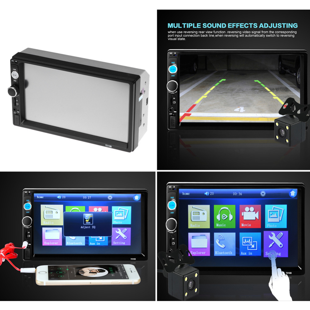ФОТО 2 Din Car Radio Player 7 inch HD Touch Screen Wireless Bluetooth Car Stereo MP5 Player Rear View Camera FM/USB/TF/AUX IN Russian