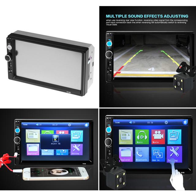 2 Din Jogador Rádio Do Carro 7 polegada Tela de Toque HD Sem Fio Jogador MP5 Câmera de Visão Traseira Do Bluetooth Estéreo Do Carro FM/USB/TF/AUX EM Russo